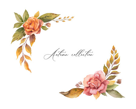 Watercolor vector autumn wreath with red rose and leaves isolated on white background. Arrangement for greeting cards, wedding invitations, invite and decorations.