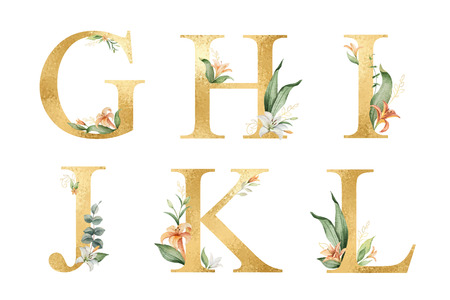 Golden vector glitter alphabet with watercolor flowers. Ilustração