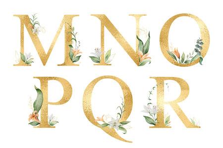 Alfabeto de oro brillo vector con flores acuarelas. Ilustración de vector