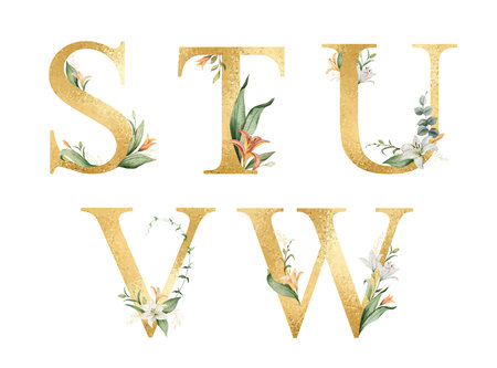Golden vector glitter alphabet with watercolor flowers. Illustration