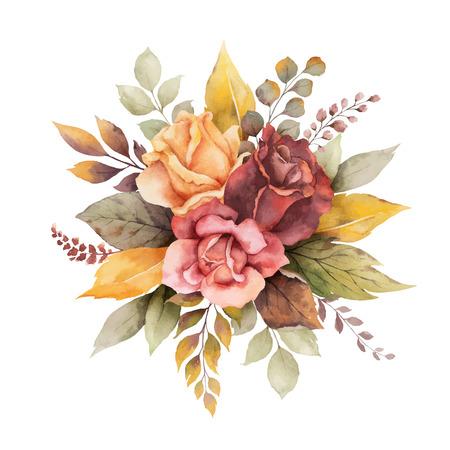 Arreglo de otoño vector acuarela con rosas y hojas aisladas sobre fondo blanco. Composición botánica para tarjetas de felicitación, invitaciones de boda, carteles florales y decoraciones.