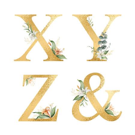 Alfabeto de oro brillo vector con flores acuarelas.