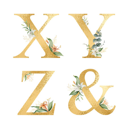 Golden vector glitter alphabet with watercolor flowers. Çizim