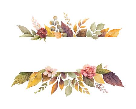 Banner de otoño vector acuarela con rosas y hojas aisladas sobre fondo blanco. Ilustración para tarjetas de felicitación, invitaciones de boda, carteles florales y decoraciones.