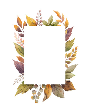Watercolor vector autumn frame with roses and leaves isolated on white background. Botanic composition for greeting cards, wedding invitations, floral poster and decorations.