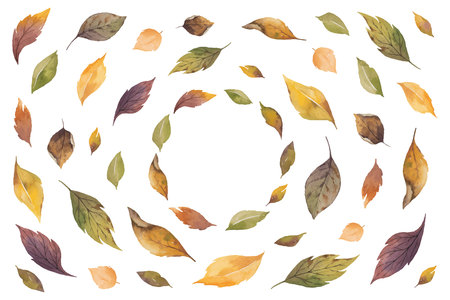 Watercolor vector autumn banner with roses and leaves isolated on white background. Illustration for greeting cards, wedding invitations, floral poster and decorations.