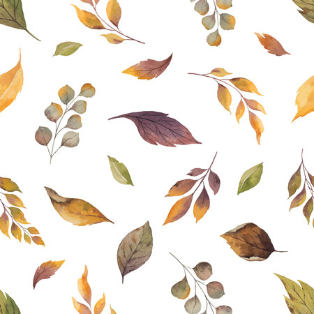 Watercolor vector autumn seamless pattern with fallen leaves isolated on white background. Botanic composition for greeting cards, wedding invitations, floral poster and decorations.