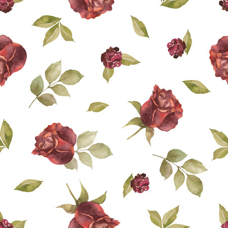 Watercolor vector autumn seamless pattern with roses and leaves isolated on white background. Botanic composition for greeting cards, wedding invitations, floral poster and decorations.