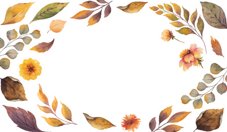 Watercolor vector autumn banner with fallen leaves and flowers isolated on white background. Illustration for greeting cards, wedding invitations, floral poster and decorations. 일러스트