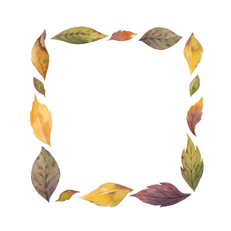 Watercolor  wreath with autumn leaves isolated on white