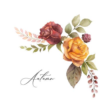 Guirnalda de otoño vector acuarela con rosa y hojas aisladas sobre fondo blanco. Arreglo para tarjetas de felicitación, invitaciones de boda, invitaciones y decoraciones.