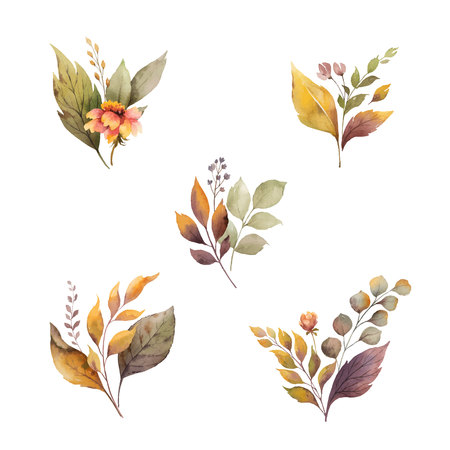 Watercolor vector autumn set with leaves and branches isolated on white background. Flower illustration for greeting cards, wedding invitations, floral poster and decorations. Çizim