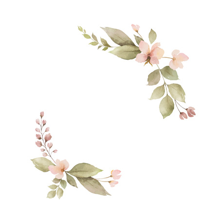 Watercolor wreath with leaves and flowers isolated on white background. Arrangement for greeting cards, wedding invitations, invite and decorations. Иллюстрация