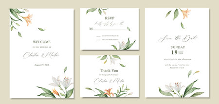 Aquarel vector instellen bruiloft uitnodiging kaart sjabloonontwerp met groene bladeren en bloemen. Illustratie voor kaarten, bewaar deze datum, groetontwerp, bloemenuitnodiging.