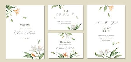 Aquarellvektorsatz Hochzeitseinladungskartenschablonendesign mit grünen Blättern und Blumen. Illustration für Karten, Save the Date, Grußdesign, Blumeneinladung.
