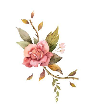 Disposizione di autunno di vettore dell'acquerello con rose e foglie isolati su priorità bassa bianca. Disposizione per biglietti di auguri, inviti di nozze, inviti e decorazioni.