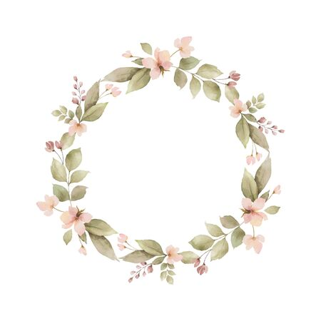 Watercolor vector wreath with leaves and branches isolated on white background. Arrangement for greeting cards, wedding invitations, invite and decorations.
