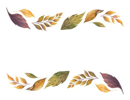 Watercolor  autumn banner with fallen leaves isolated on white