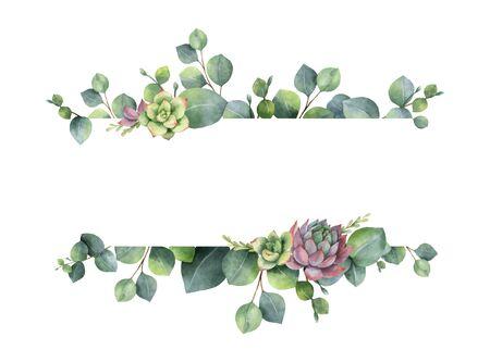 Corona di vettore dell'acquerello con foglie di eucalipto verde, fiori succulenti e rami. Fiori primaverili o estivi per inviti, matrimoni o biglietti di auguri.