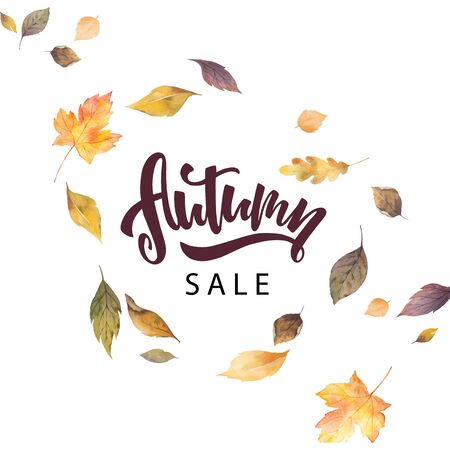 Watercolor vector card with hand lettering autumn sale and leaves isolated on white background. Arrangement for greeting cards, wedding invitations, invite and decorations. Illustration