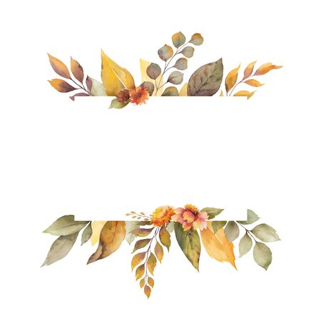 Watercolor vector autumn banner with leaves, flowers and branches isolated on white background. Illustration for greeting cards, wedding invitations, floral poster and decorations.