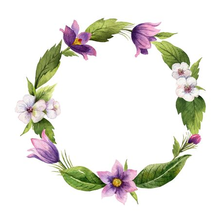 Watercolor hand painted vector wreath with meadow plants. Illustration for cards, wedding invitation, beauty store, decoration element, natural and organic products, save the date or romantic design..