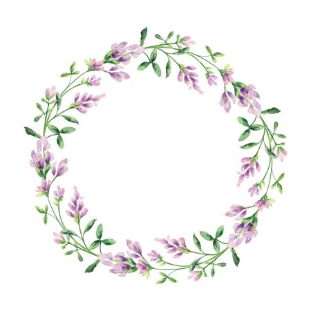 Watercolor vector hand painted wreath with Alfalfa . Illustration for cards, wedding invitation, beauty store, decoration element, natural and organic products, save the date or romantic design..