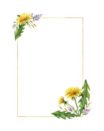 Watercolor hand painted vector frame with meadow plants. Illustration for cards, wedding invitation, beauty store, decoration element, natural and organic products, save the date or romantic design.. Illustration