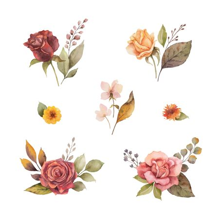 Watercolor vector autumn set with leaves and branches isolated on white background. Flower illustration for greeting cards, wedding invitations, floral poster and decorations. Ilustração