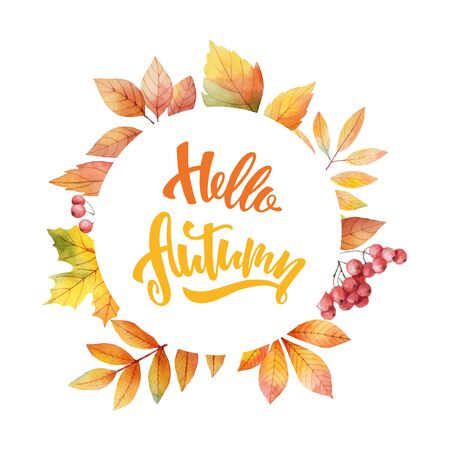 Watercolor vector card with hand lettering Hello autumn and leaves isolated on white background. Arrangement for greeting cards, shopping discount promotion, invite and decorations. Иллюстрация
