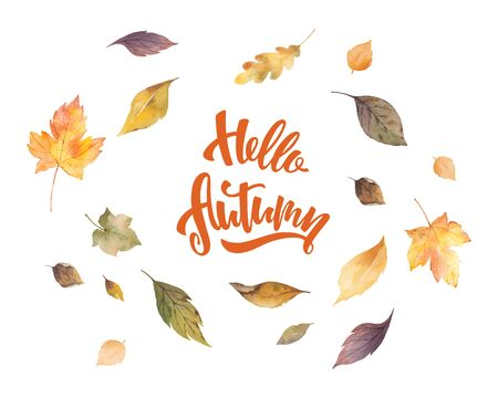 Watercolor vector card with hand lettering Hello autumn and leaves isolated on white background. Arrangement for greeting cards, shopping discount promotion, invite and decorations. Illustration