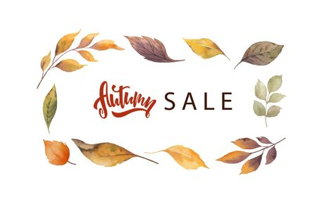 Watercolor vector sale card template design of leaves and branches isolated on white background. Autumn illustration for shopping discount promotion, greeting cards, quote and decorations.