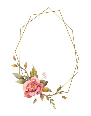 Watercolor vector autumn frame with roses, leaves iand gold geometric frame isolated on white background. Illustration for greeting cards, wedding invitations, floral poster and decorations.
