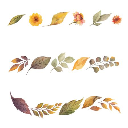 Watercolor vector set of wreath with autumn leaves isolated on white background. Arrangement for greeting cards, wedding invitations, invite and decorations.