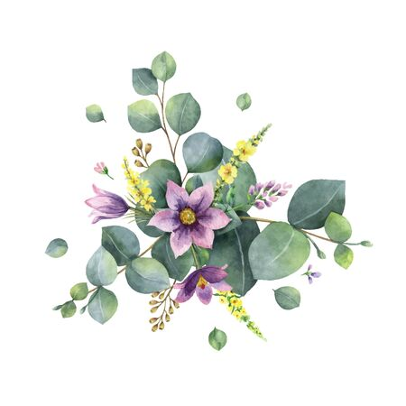 Watercolor vector hand painted bouquet with green eucalyptus and flowers. Healing Herbs for cards, wedding invitation, posters, greeting design isolated on white background.