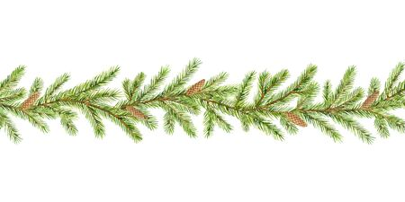 Watercolor vector Christmas garland with fir branches and place for text. Illustration for greeting cards and invitations isolated on white background.