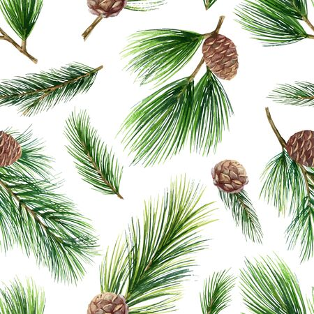 Watercolor vector Christmas seamless pattern with green fir branches and cones for celebration design.. Illustration for wrapping paper, textiles, greeting cards and invitations.