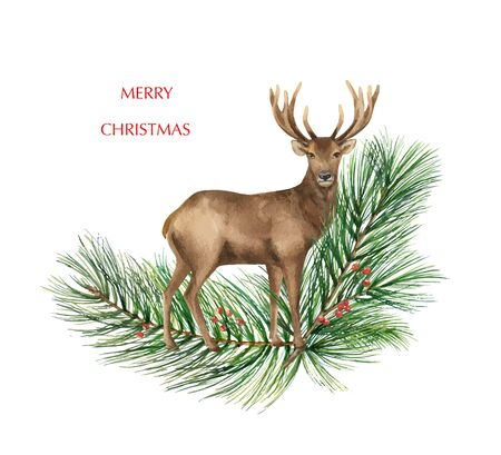 Christmas vector Reindeer with a green fir branch. Illustration for greeting cards, banners, invitations, decoration element. Winter holiday symbol.