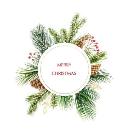 Watercolor vector Christmas frame with fir branches and place for text. Illustration for greeting cards and invitations isolated on white background. Great design for any purposes