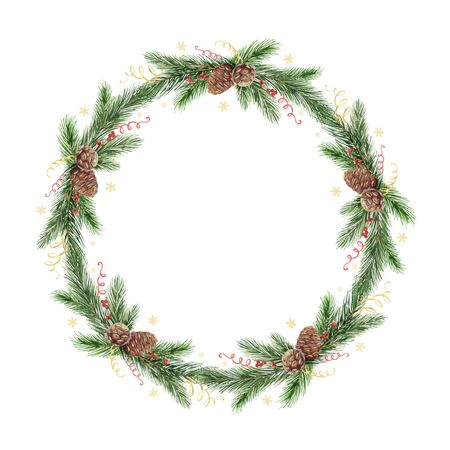 Watercolor vector Christmas frame with fir branches and place for text. Illustration for greeting cards and invitations. Colorful winter background. Ilustração