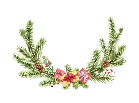 Watercolor vector Christmas wreath with green fir branches and gift. Illustration for greeting cards and invitations isolated on white background.