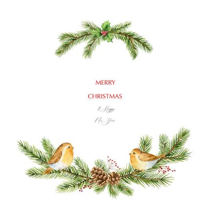 Watercolor vector Christmas wreath with fir branches and birds. Illustration for greeting floral postcard and invitations isolated on white background.