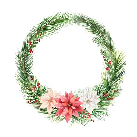 Watercolor vector Christmas wreath with fir branches and flowers of poinsettia. Illustration for greeting floral postcard and invitations isolated on white background.