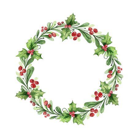 Guirnalda de Navidad vector acuarela con ramas verdes y frutos rojos. Ilustración para saludo postal floral e invitaciones aisladas sobre fondo blanco.