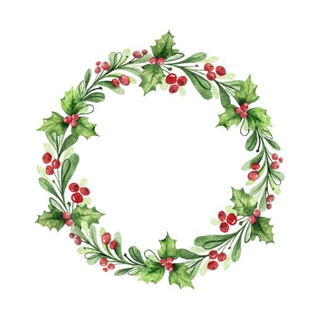 Watercolor vector Christmas wreath with green branches and red berries. Illustration for greeting floral postcard and invitations isolated on white background. Stock Illustratie