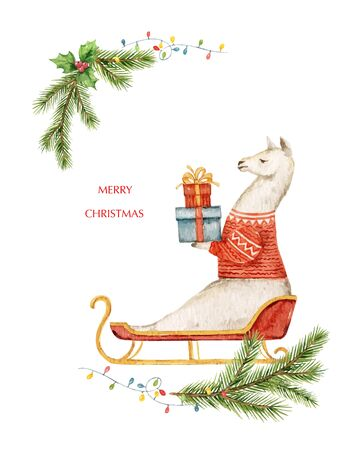 Watercolor vector Christmas card Llama or alpaca on a sled with gifts and fir branches. Cartoon illustration for greeting cards, poster template and invitations. Holiday decoration.