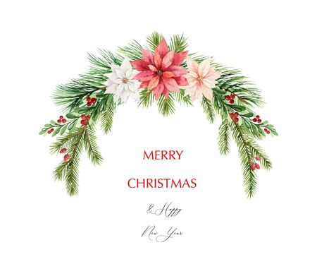 Watercolor  Christmas wreath with fir branches and flowers of poinsettia.