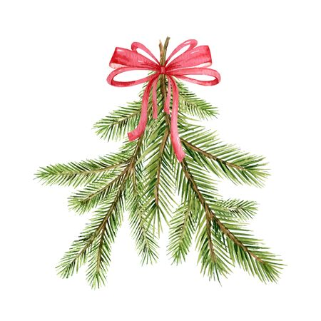 Christmas vector composition with green fir branches and red bow isolated on white background. Illustration for greeting cards, banners, invitations, calendars. Иллюстрация