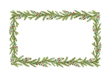Watercolor vector Christmas frame with fir branches and place for text. Illustration for greeting cards and invitations. Winter holiday background. Ilustração