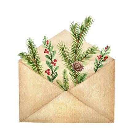 Watercolor vector postal envelope with green spruce branches and red berries. Christmas and new year greeting card.